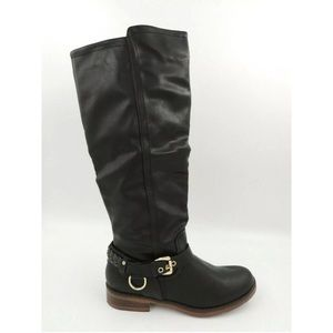 Black Riding Boot Buckle Biker Faux Leather 7.5